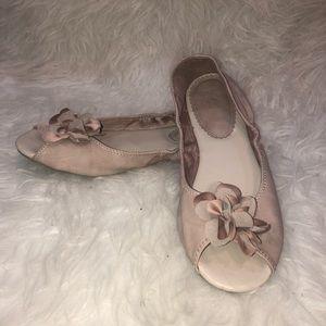 New York & Company Dusty Blush Pink Peep Toe Flats